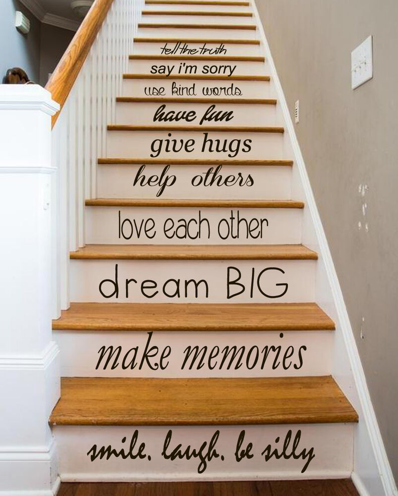family decal quote love decals stair riser vinyl sticker stairs decor art ky84 ebay. Black Bedroom Furniture Sets. Home Design Ideas