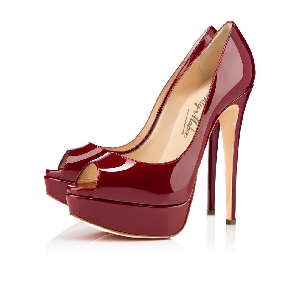 2016 fashion open toe burgundy stiletto heels bridal high. Black Bedroom Furniture Sets. Home Design Ideas