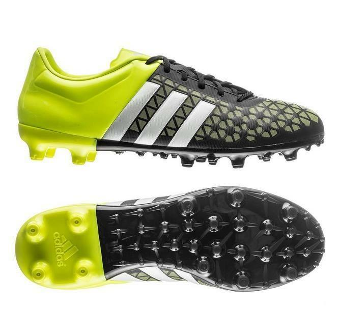 b6becf204c91 Kids Boys Adidas Ace 15.3 FG Black Yellow Moulded Studs Football Soccer  Boots