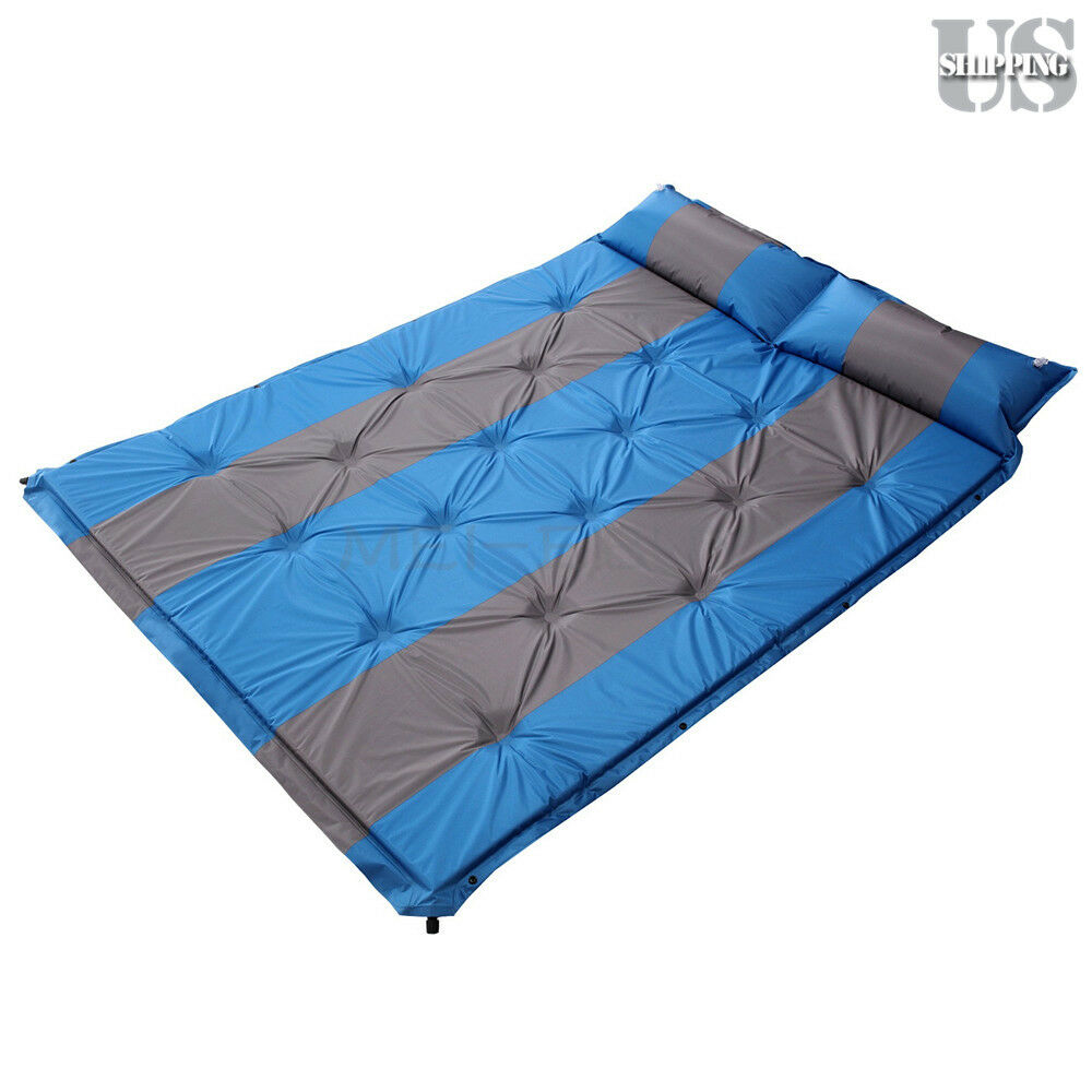 Double large self inflating mattress camping hiking for Sleeping bed