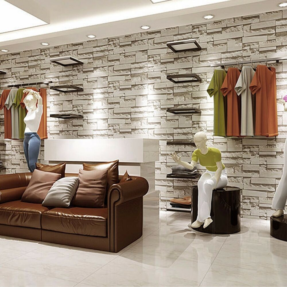 3d wallpaper bedroom mural roll modern stone brick wall for Black 3d brick wallpaper