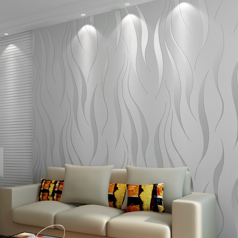 10m home improvement high end luxury 3d wave flocking for Home wallpaper ebay