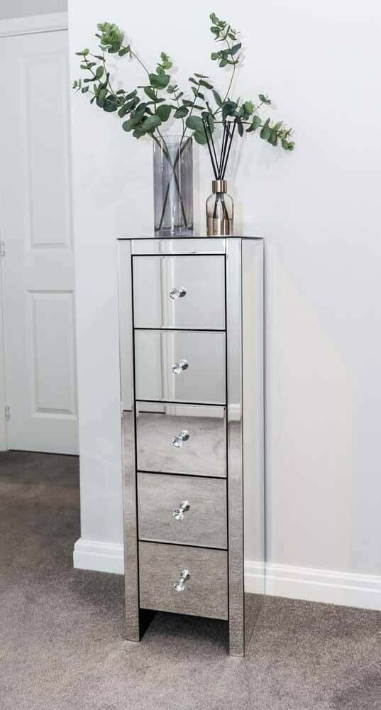 Mirrored Bedside Table With Drawers: Tall Mirrored Bedside Cabinet Chest Unit Of 5 Drawer