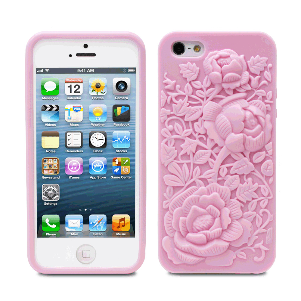fosmon for iphone se 5s 5 pink 3d sculpture silicone rose cover flower tpu case ebay. Black Bedroom Furniture Sets. Home Design Ideas