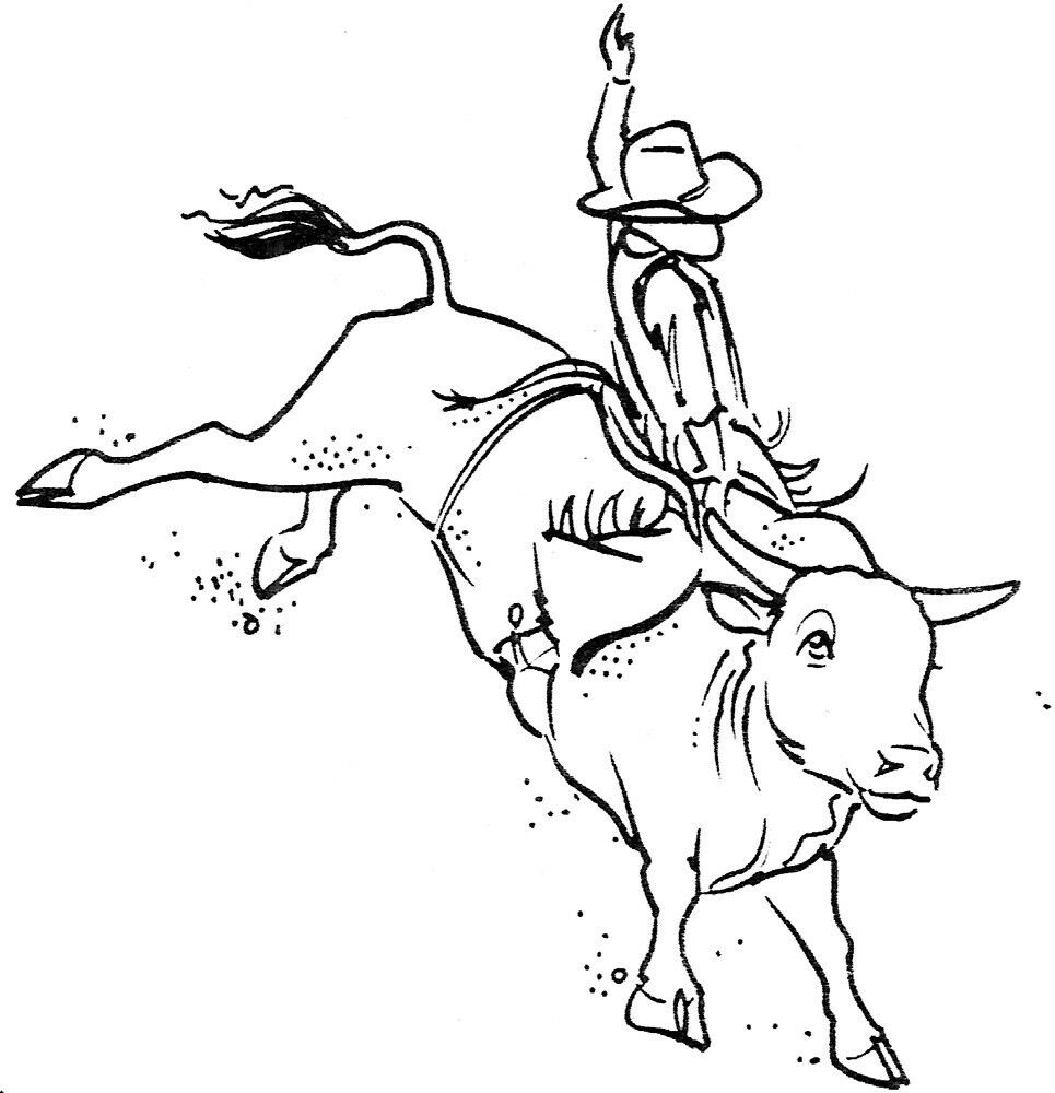 Unmounted rubber stamps western bull riding set cowboys for Bucking bull coloring pages