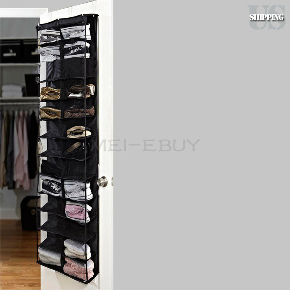 26 pocket shoe space door hanging organizer storage rack for Door shoe organizer