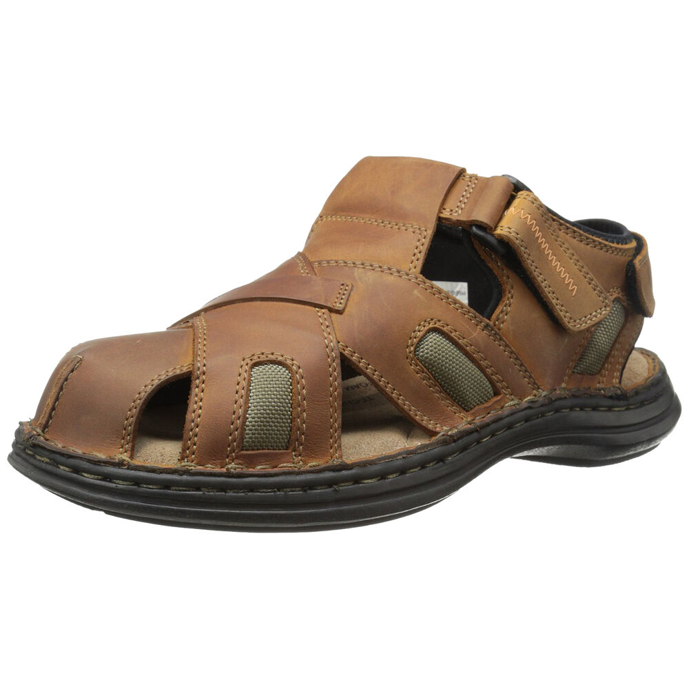 Hush puppies relief fisherman mens brown leather closed for Mens fishing sandals