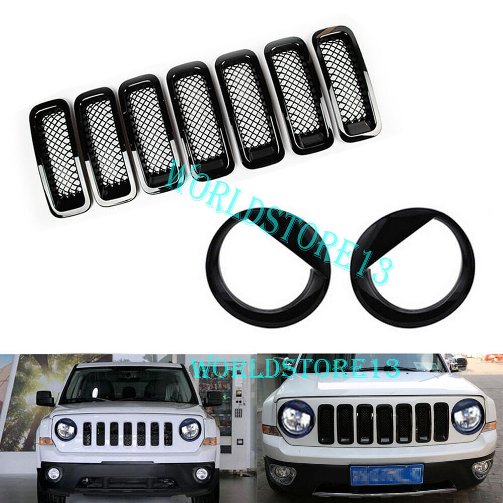 2016 Jeep Patriot Accessories >> Front Grille Mesh Insert Cover Trim+Angry Bird Headlight Cover for Jeep Patriot | eBay