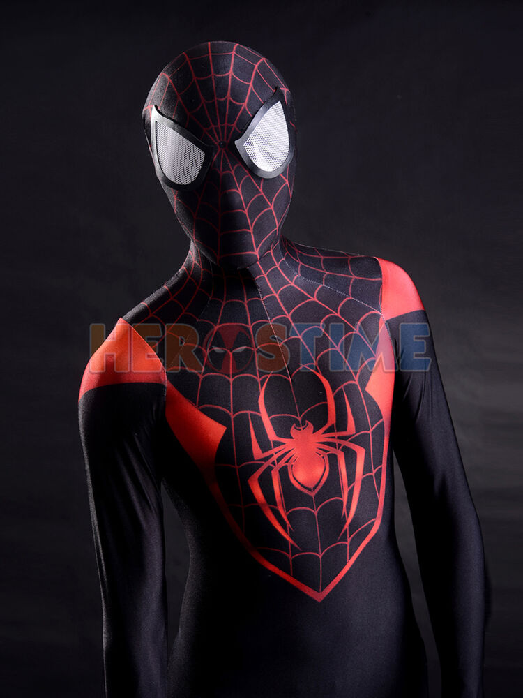 4a7fe9ef193 Details about Spiderman Costume Ultimate Miles Morales Superhero Cosplay  Suit For Adult Kids