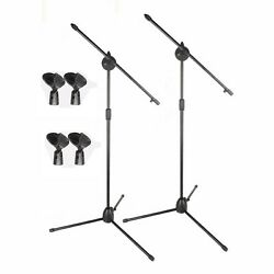 Kyпить 2 Pack Dual Microphone Stand Boom Arm Holder & Mic Clip Stage Studio Tripod New на еВаy.соm