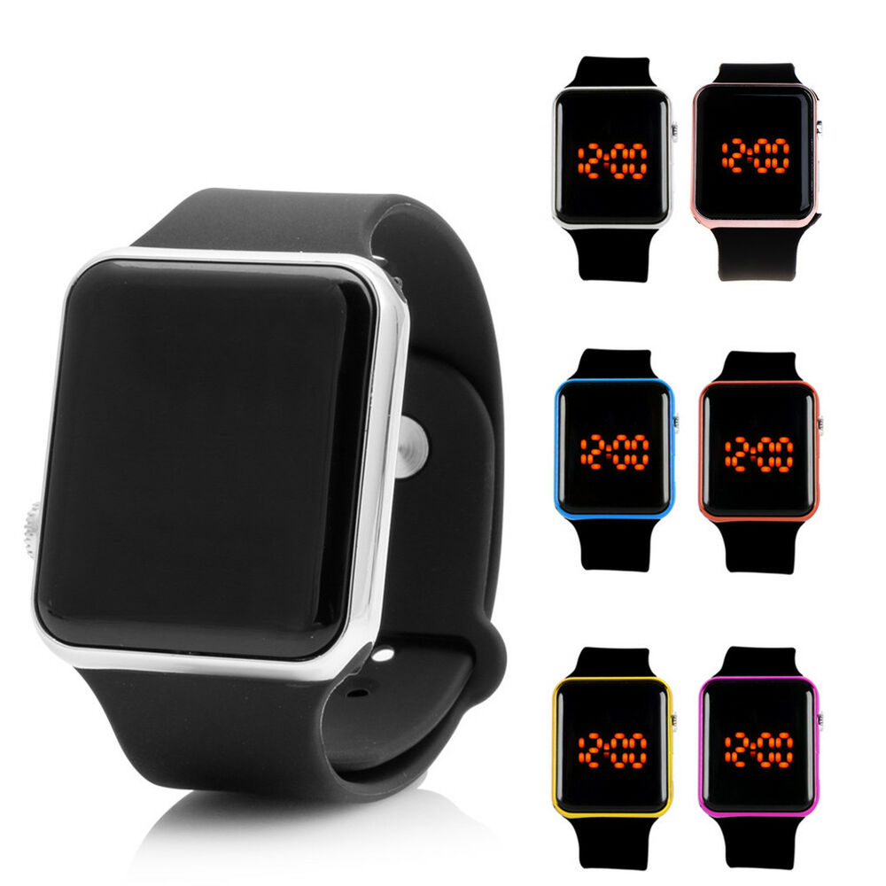 Silicone LED Men Womens Sport Watch Touch Digital Bracelet ...