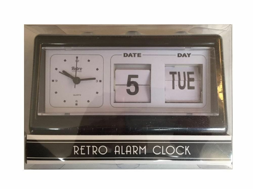 new black vintage retro style alarm clock with date 10273 | s l1000