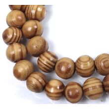 8mm Natural Wood Round Rocaille Beads 15