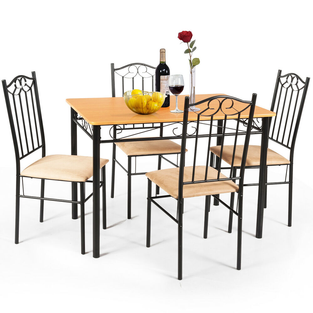 5 pc dining set wood metal table and 4 chairs kitchen for Table and bench set