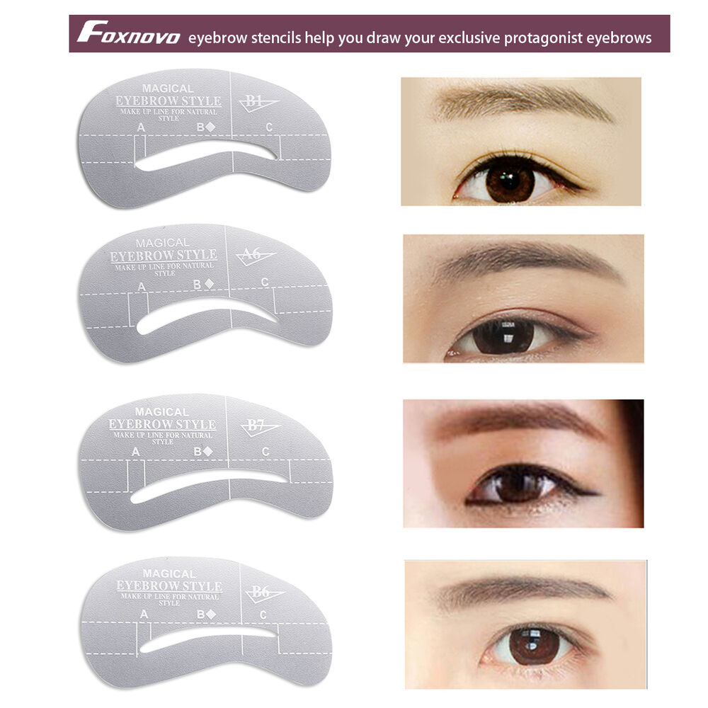 24 style eyebrow stencil grooming shaper liner kit for Eyebrow templates printable