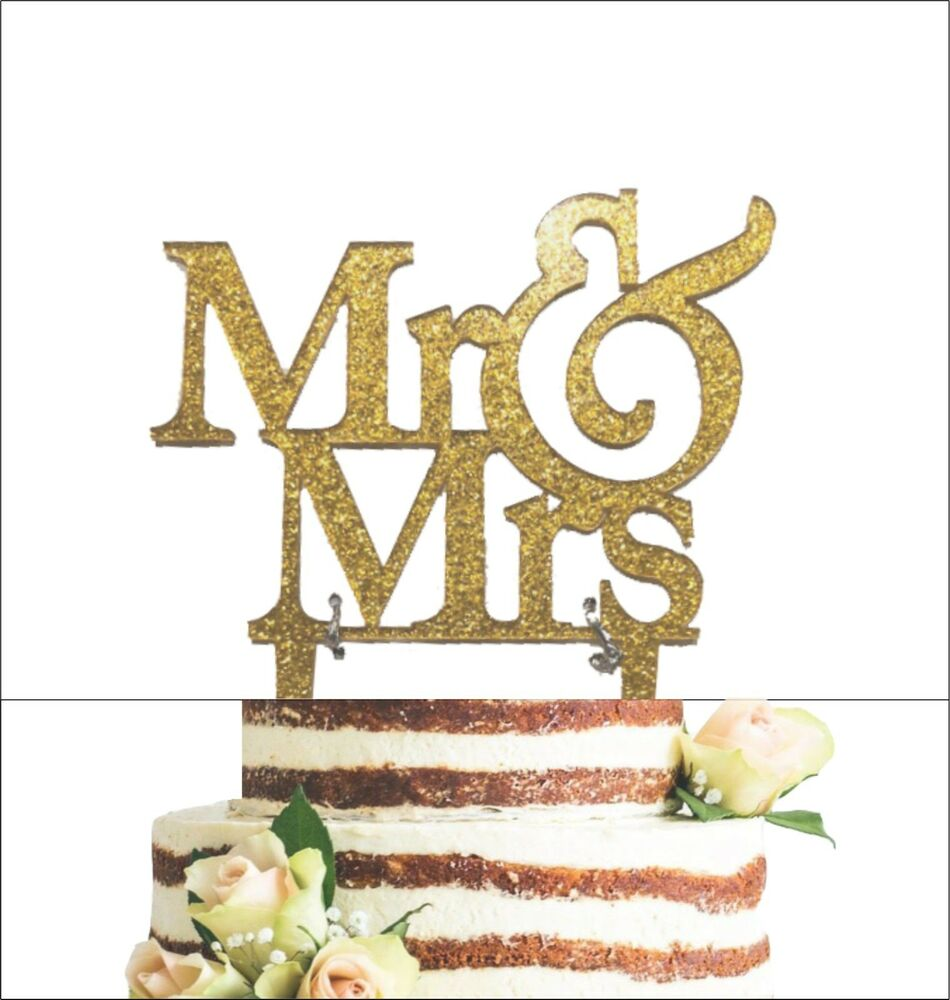 Gold Wedding Cake Decorations: Mr And Mrs Sign, Bride And Groom Cake Topper Gold, Wedding