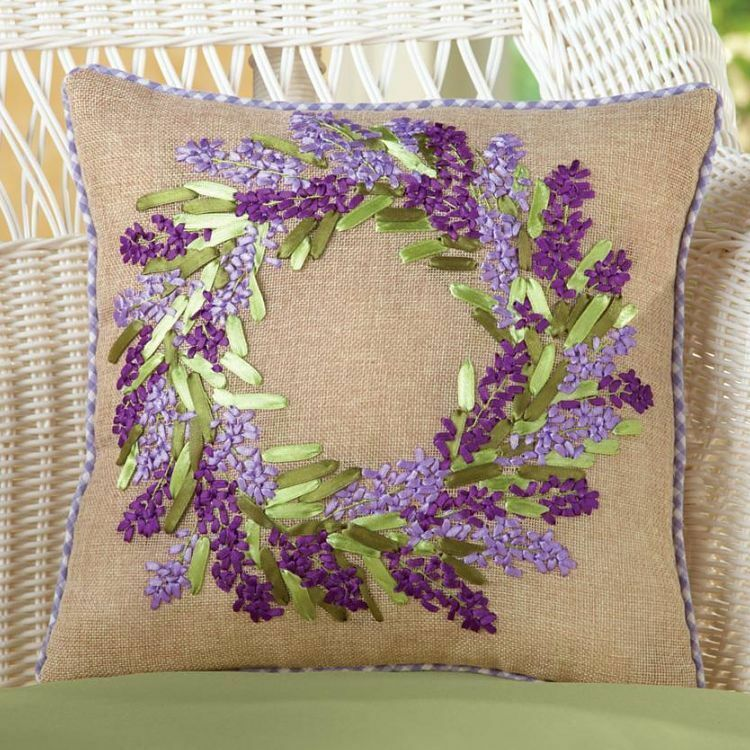 Lavender Flower Accent Pillow Throw Embroidered Burlap