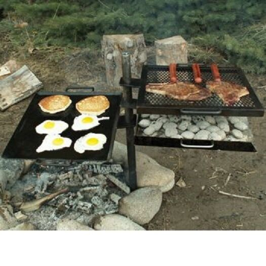 New camp chef mountain man over fire grill griddle cooking