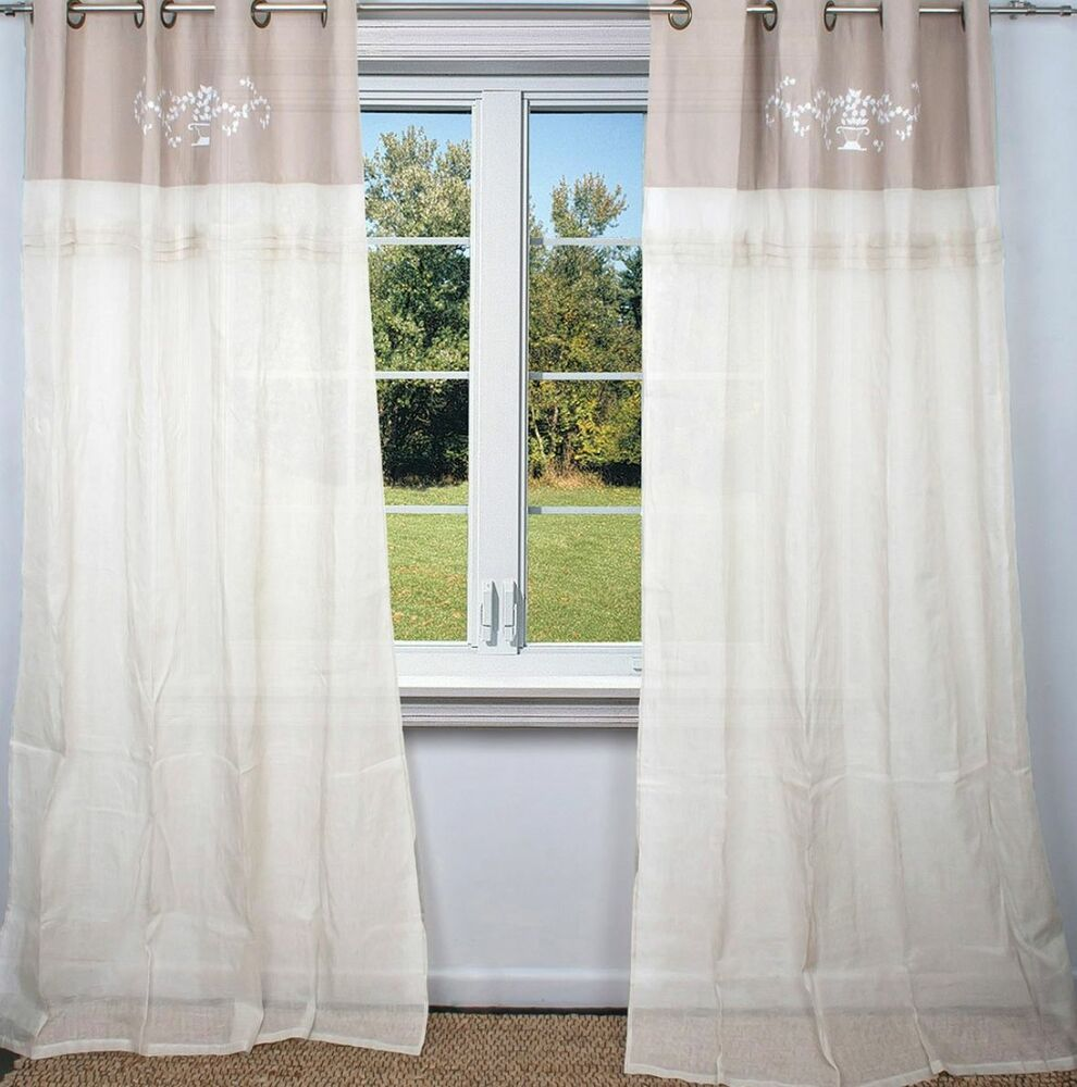 Shabby Chic Curtains: 2 White Taupe Linen Hamptons Curtains Shabby French