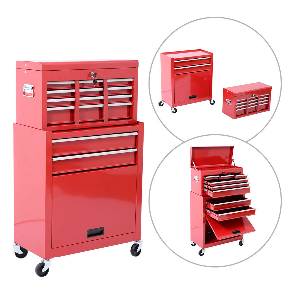Portable Cabinets On Wheels : Portable removable top chest rolling tool storage box