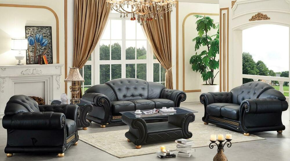 Esf Versachi Classic Black Top Grain Italian Leather Living Room Sofa Set 3pcs Ebay
