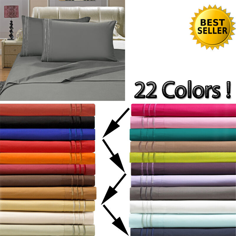 1800 Count Deep Pocket 4 Piece Bed Sheet Set 26 Colors