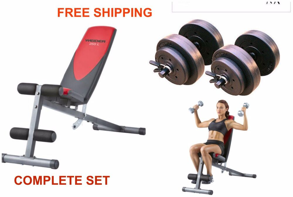 Home gym lb dumbbells weight flat incline decline bench