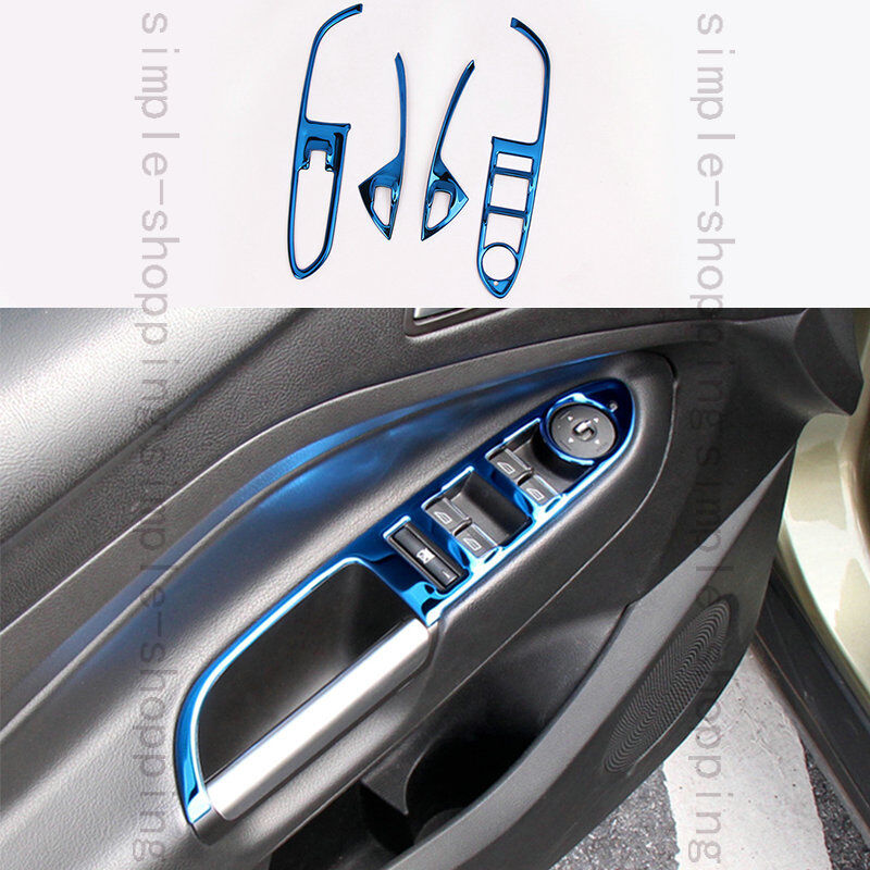 4pcs steel door window switch frame cover trim blue for - 2013 ford escape interior door handle ...