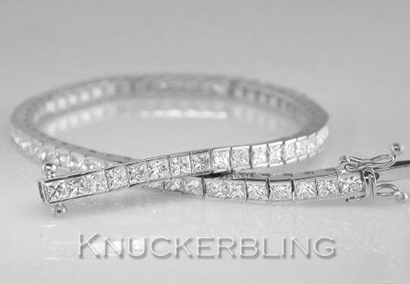 5 00ct Diamond Tennis Bracelet Princess Cut 18ct White