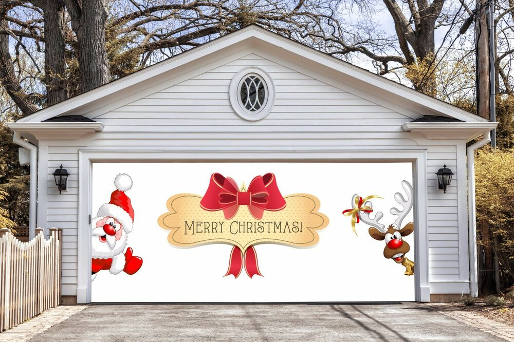 Merry christmas decor garage door covers 3d banners for Christmas garage door mural