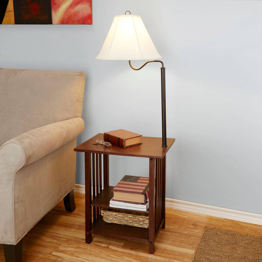 Side End Table With Floor Lamp 3 Rack Shelves Living Room Furniture