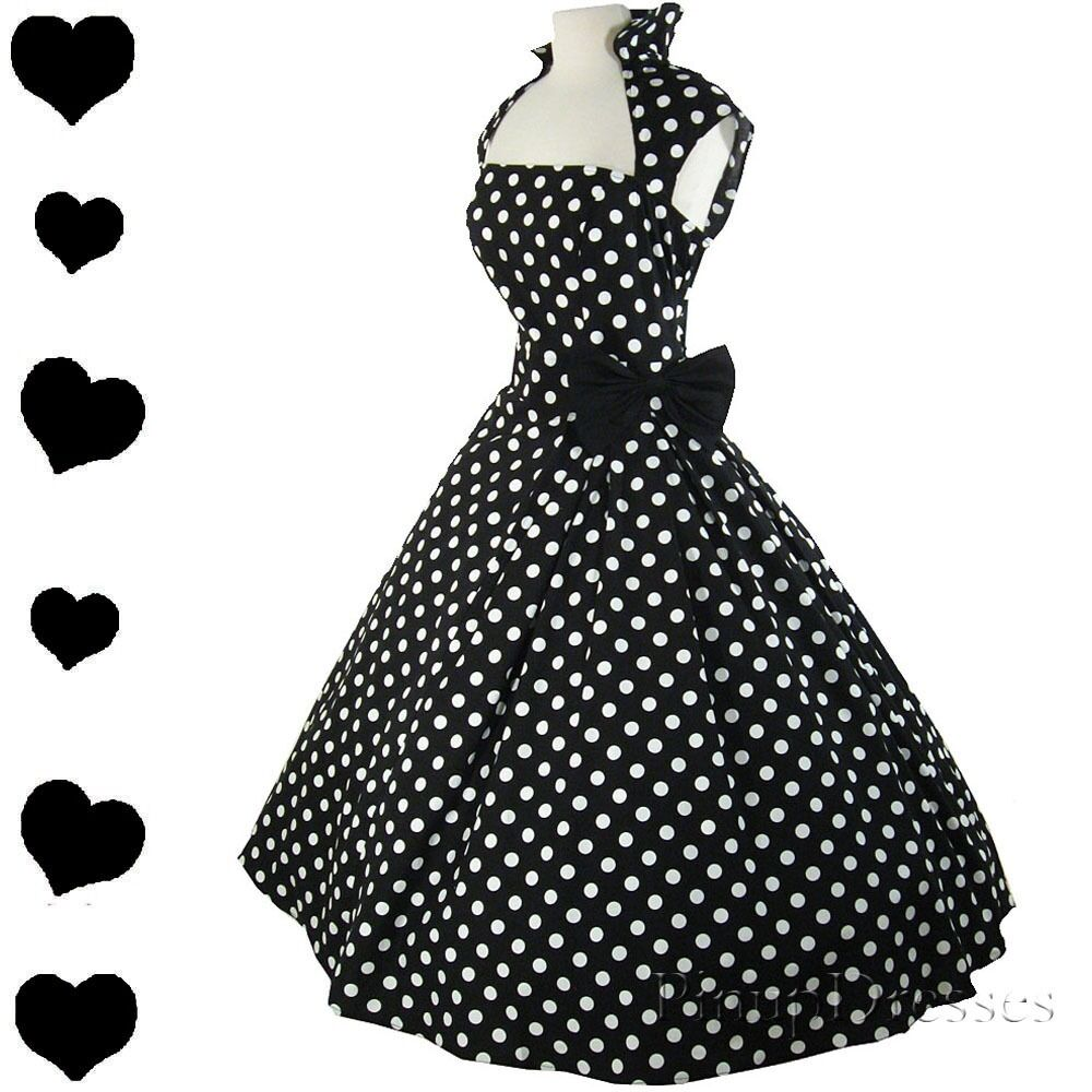 New Polka Dot Black Full Skirt Dress 50s Rockabilly Swing