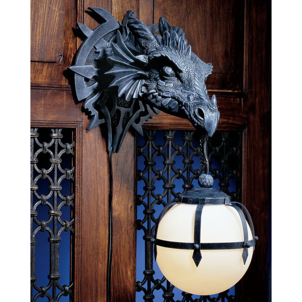 Dragon Head Statue Wall Hanging Sculpture Sconce Lamp