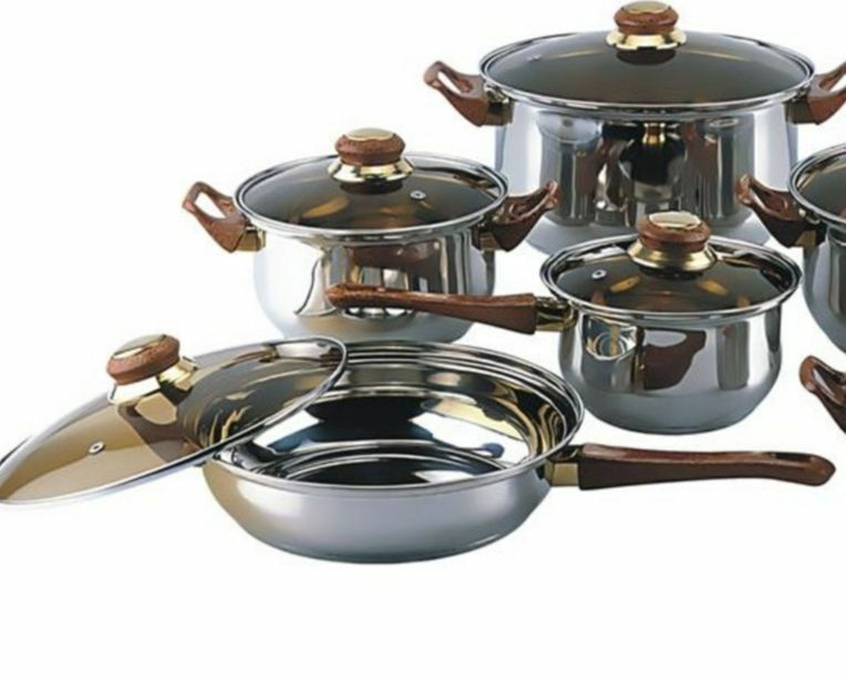 12 piece stainless steel pots and pans cookware set kitchen cooking tinted glass ebay. Black Bedroom Furniture Sets. Home Design Ideas