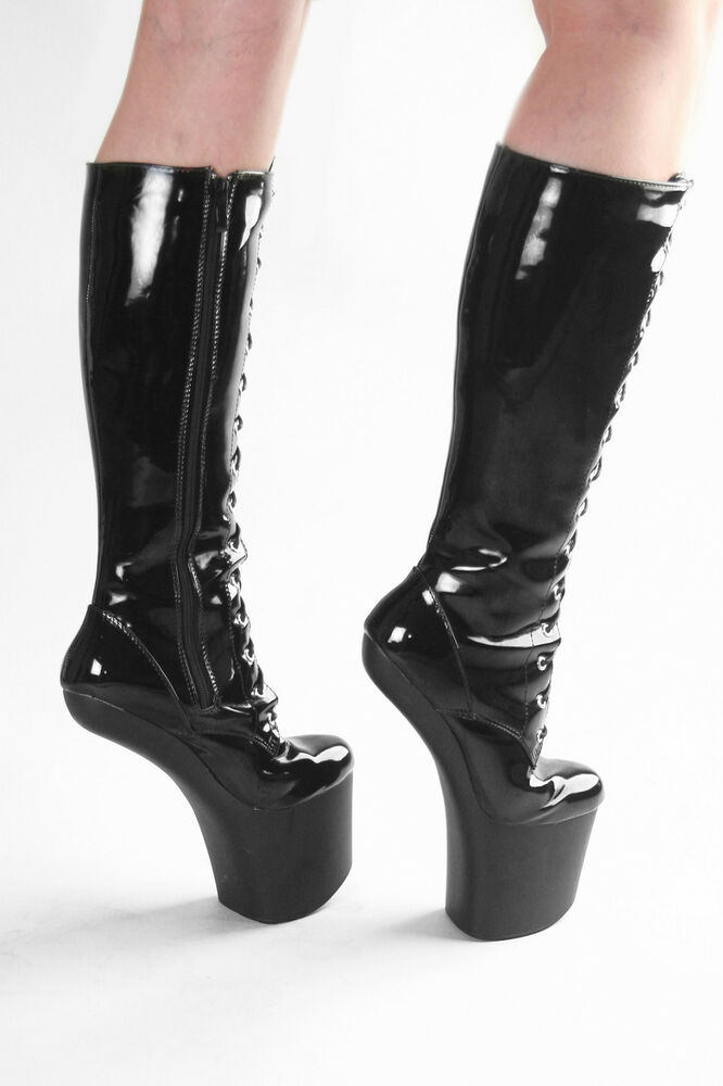 sexy pony lack stiefel extrem plateau boots high heels lackstiefel schwarz 37 46 ebay. Black Bedroom Furniture Sets. Home Design Ideas