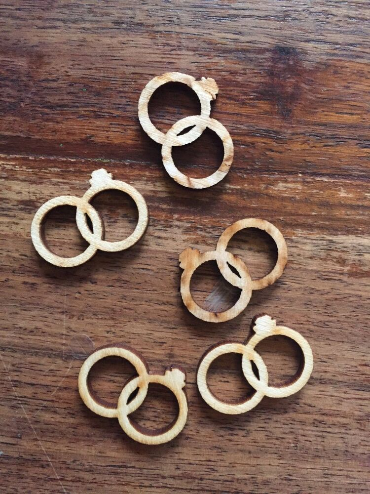 5 x wooden wedding rings diamond embellishment craft card for Wooden rings for crafts