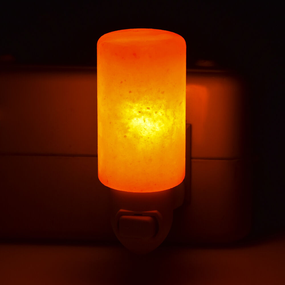 Salt Lamps Night Lights : 15W Natural Lamp Cylinder Shape Crystal Salt Night Light Lamp Air Purifier Wall eBay