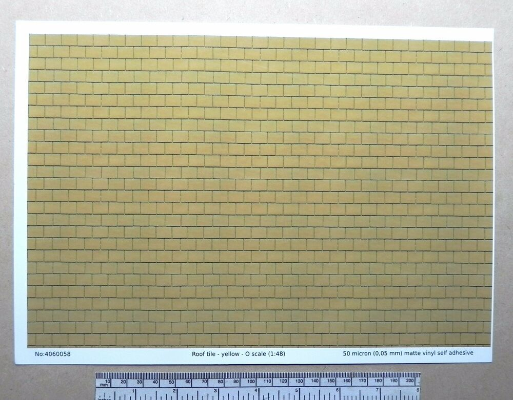 O Gauge 1 48 Scale Quot Yellow Roof Tile Quot Self Adhesive