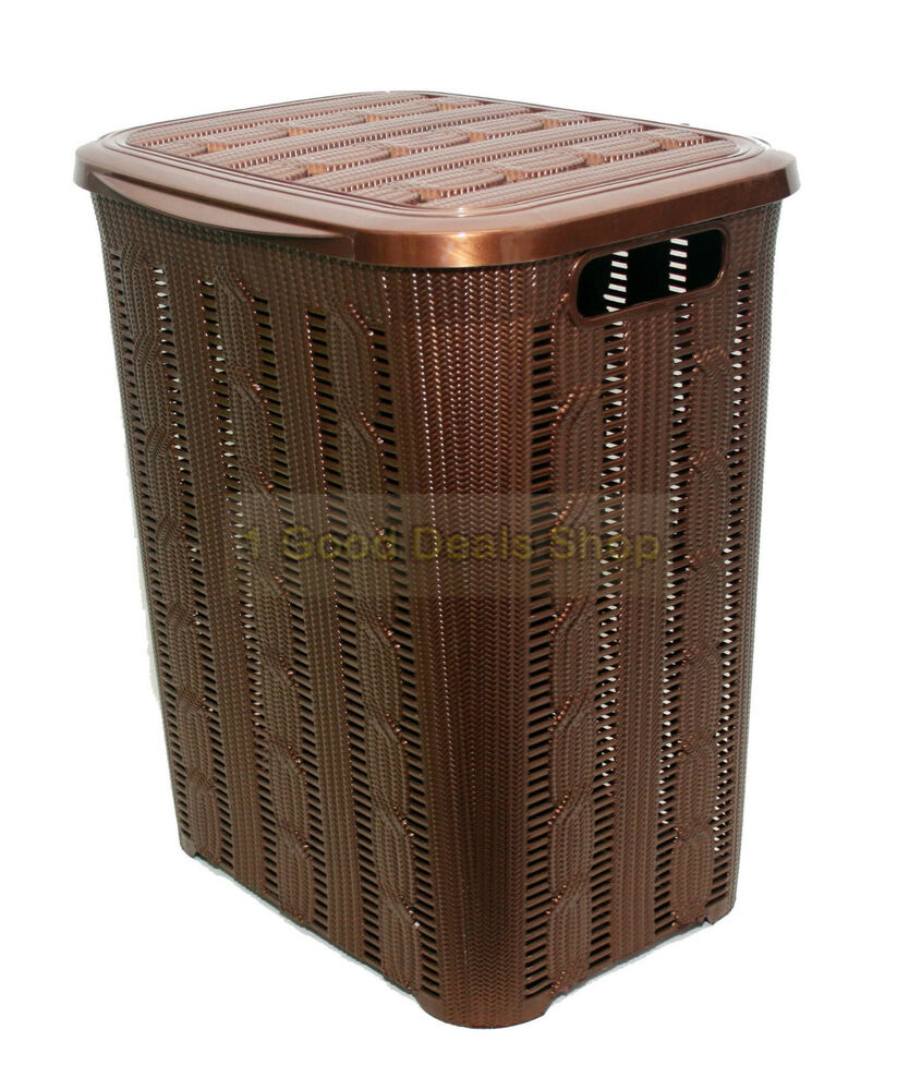 Plastic braided rattan style 45l laundry basket hamper storage box bin drk brown ebay - Rattan laundry hamper ...