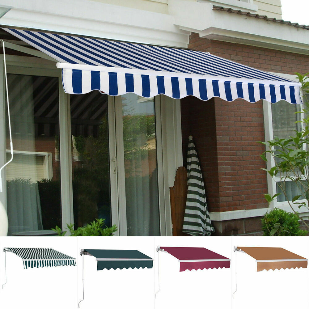 9.8'X8.2' Manual Patio Canopy Retractable Deck Awning ...