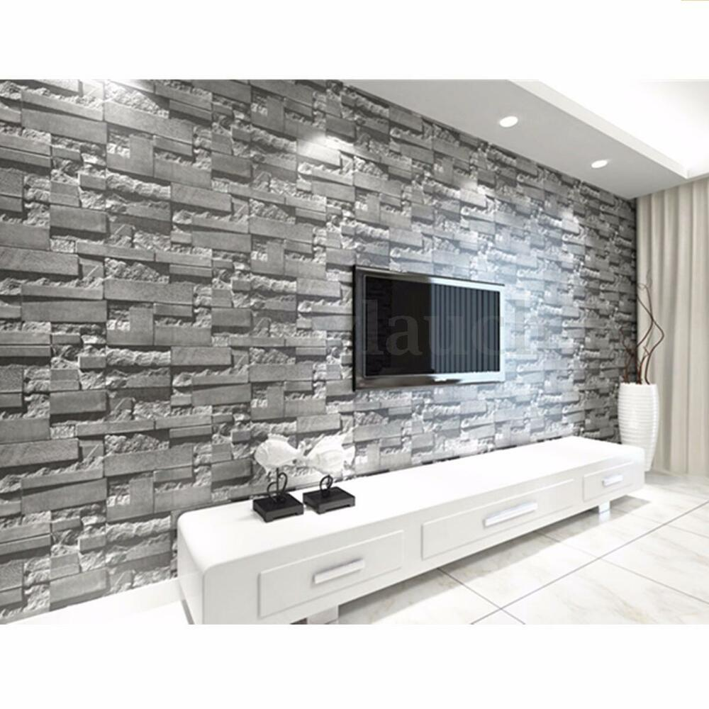 3d faux brick stone wallpaper bedroom living mural roll for Contemporary mural