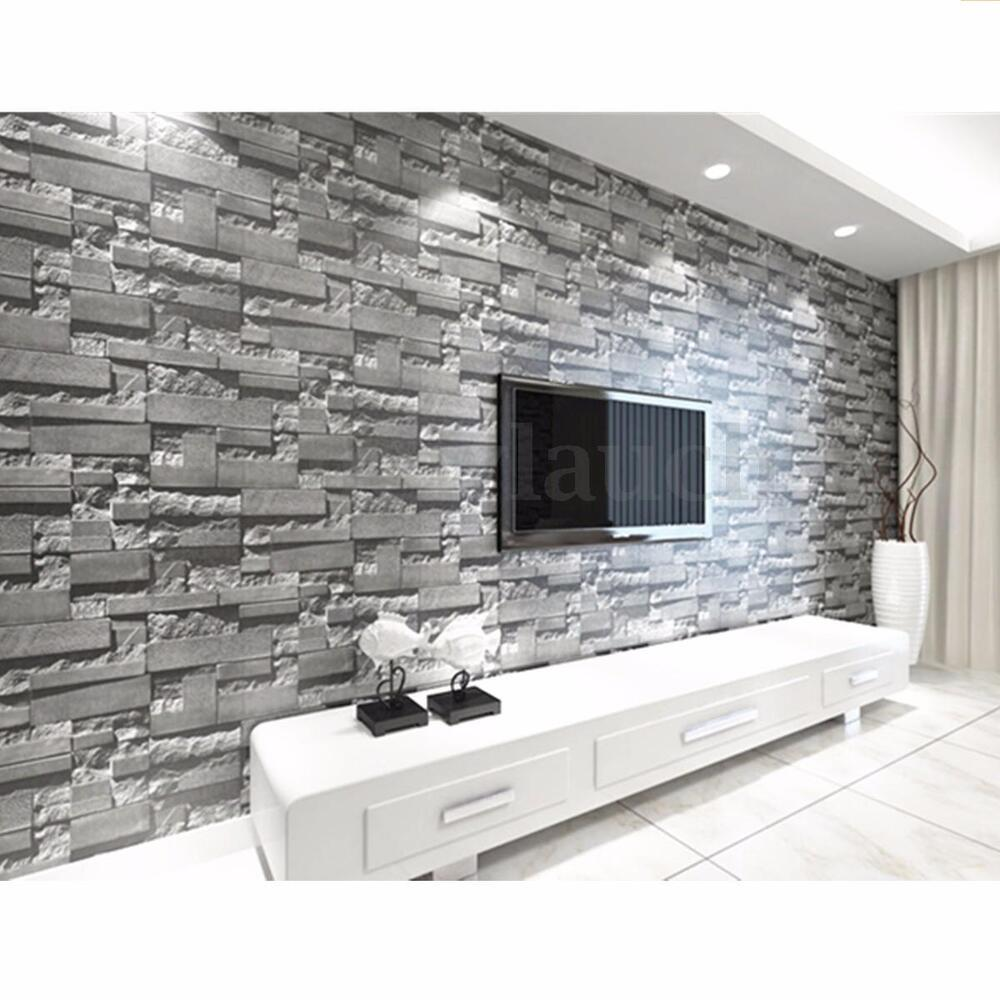 3d faux brick stone wallpaper bedroom living mural roll for Black 3d brick wallpaper