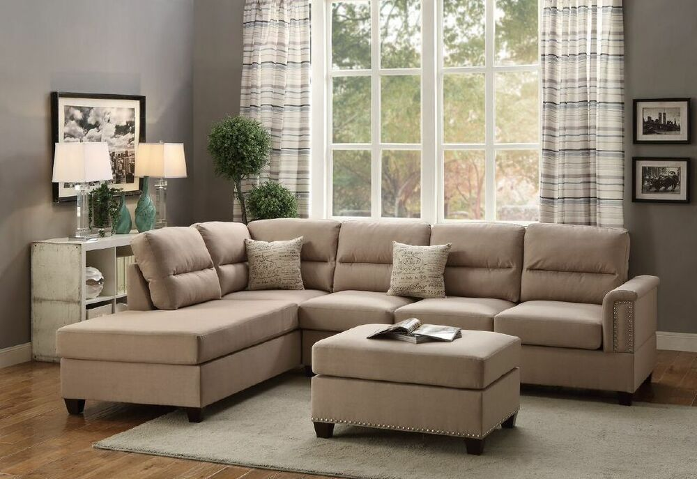 Modern plush 3p reversible sectional sand color sofa l r for 3pc sectional with chaise