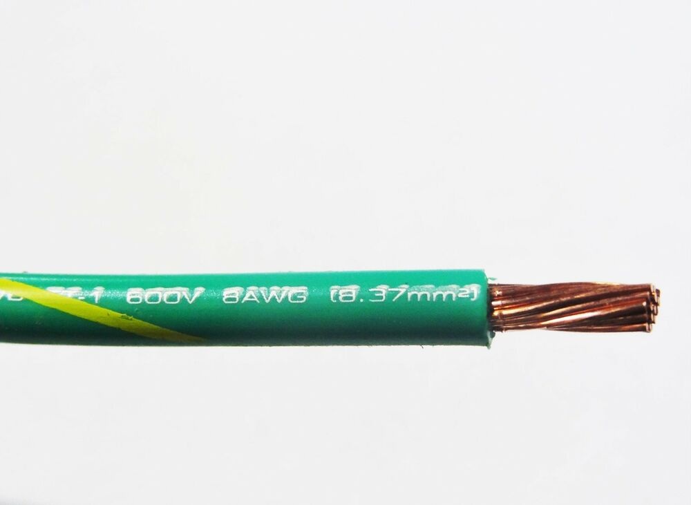 Mtw 8 Gauge Awg Green Yellow Stripe 19 Strands Copper