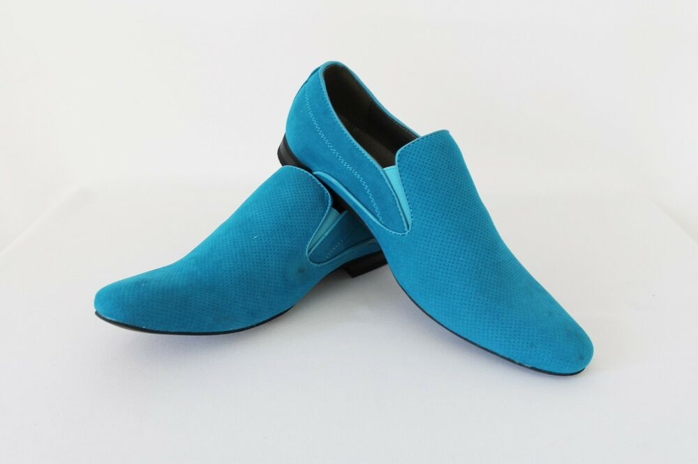 Mens Dress Shoes Teal Blue Suede Slip on Bravo Berto Pointed Toe ...