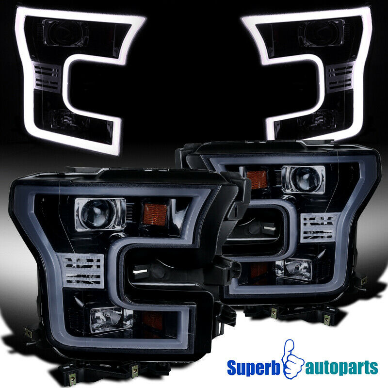2015 2017 Ford F150 Glossy Black Housing Smoke Lens Led