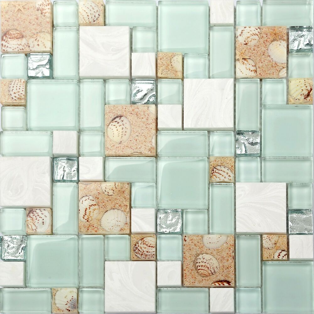Seashell Backsplash Tile: Kitchen Bath Mosaic Tile Glass Seashell Wall Backsplash