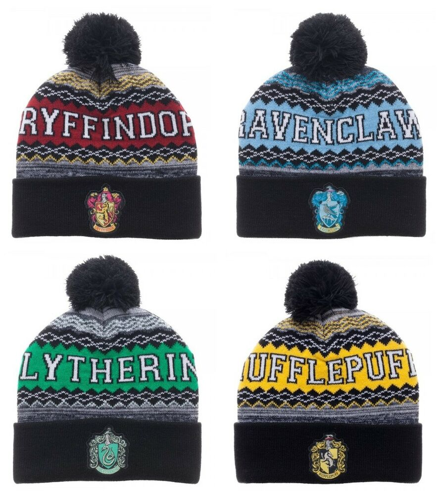 6ab3f3bb3e4 Details about Harry Potter Beanie Winter Hat Gryffindor Slytherin Ravenclaw  Hufflepuff House