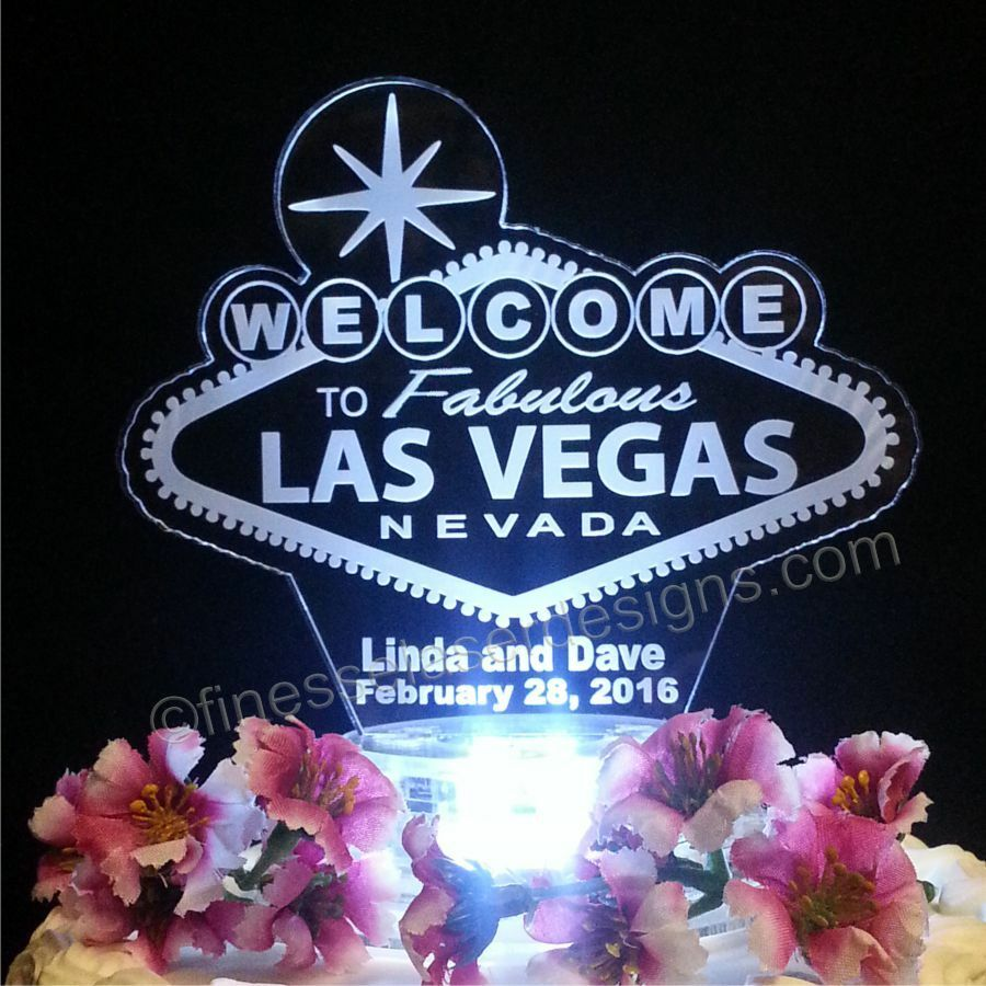 las vegas sign lighted wedding cake topper acrylic poker chip personalized