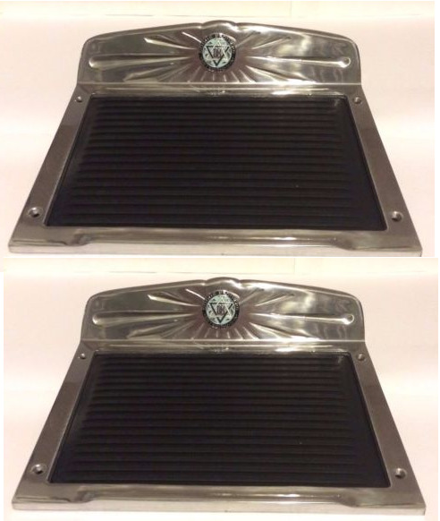 dodge brothers polished deluxe aluminum running board step plate  rubber set ebay